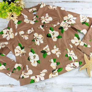 Gorgeous Carmel Jean Jacket Floral Print. Sz 18W